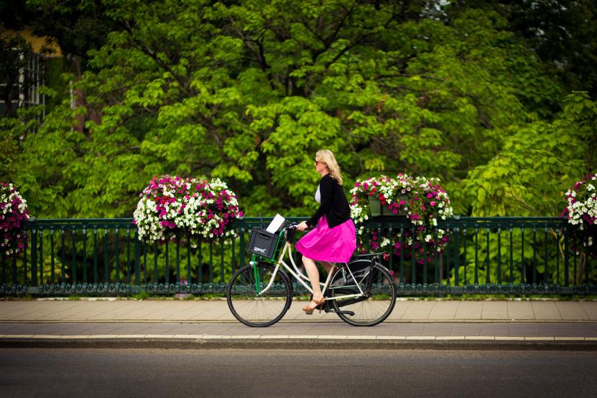 Cyclist on bridge