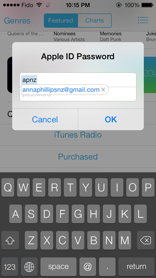 iOS autocomplete email
